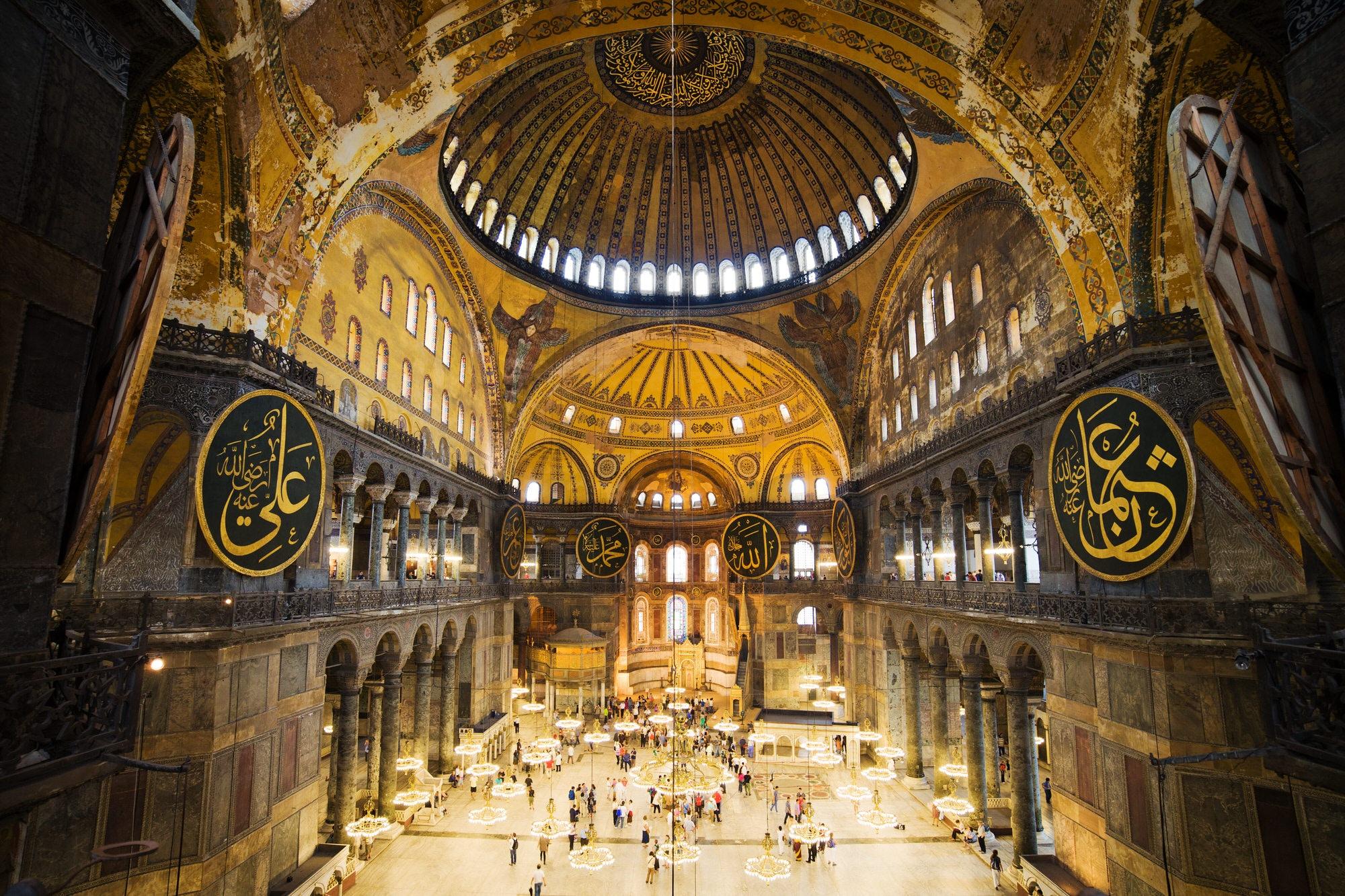Interior shot of the Aya Sofya, in Istanbul