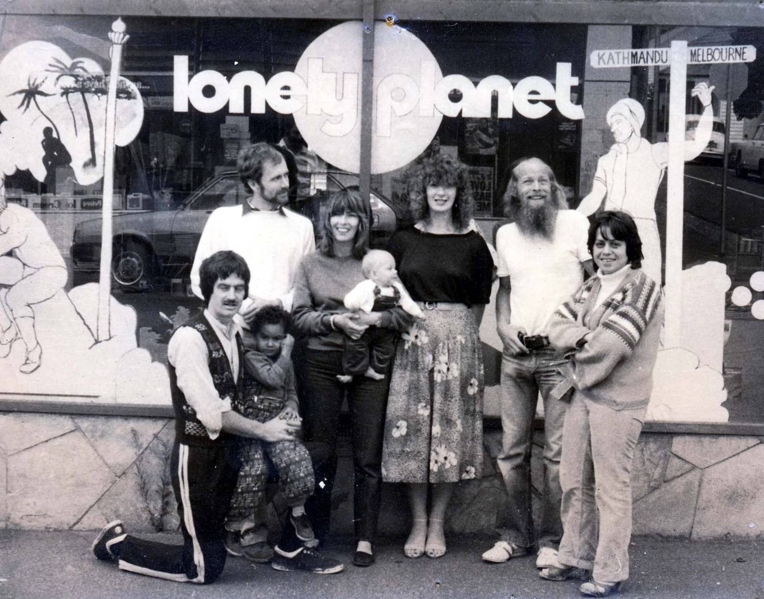 The retro logo in the window of the Lonely Planet shopfront office in Richmond, Melbourne, where Lonely Planet was based between 1980 to 1988 © Lonely Planet