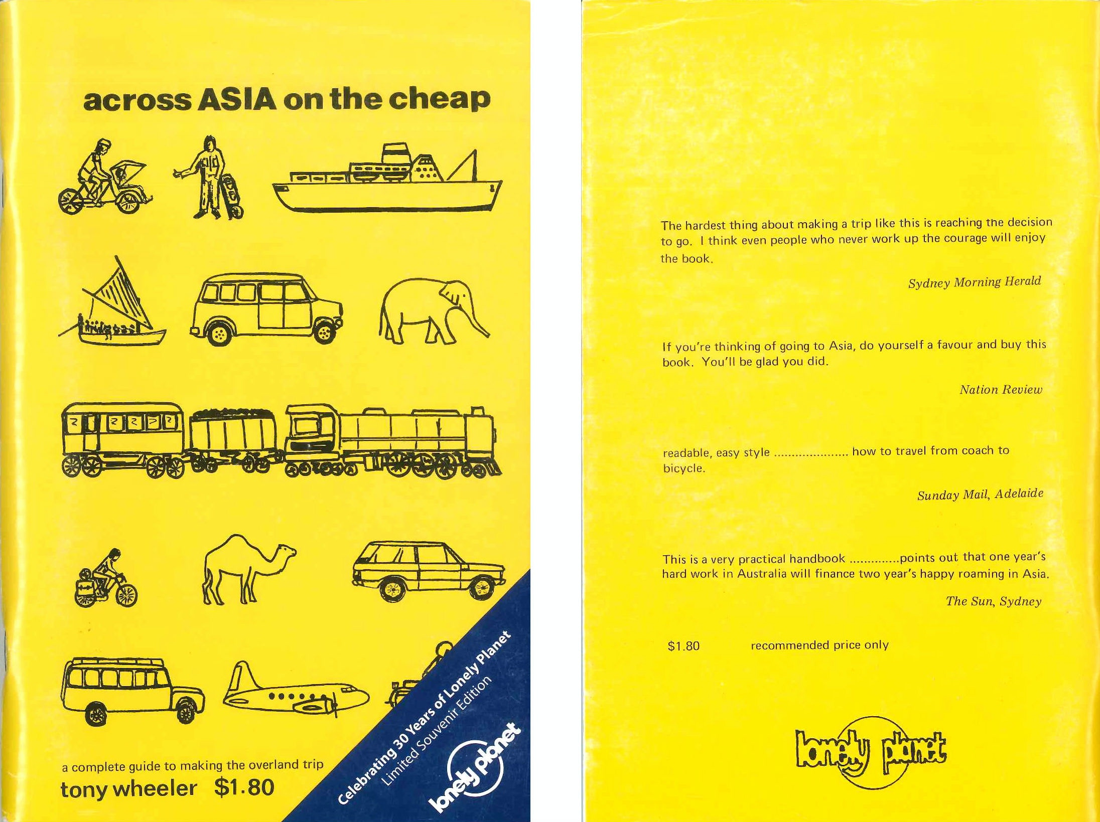 The first ever iteration of the Lonely Planet logo on the cover of 'across ASIA on the cheap' © Lonely Planet