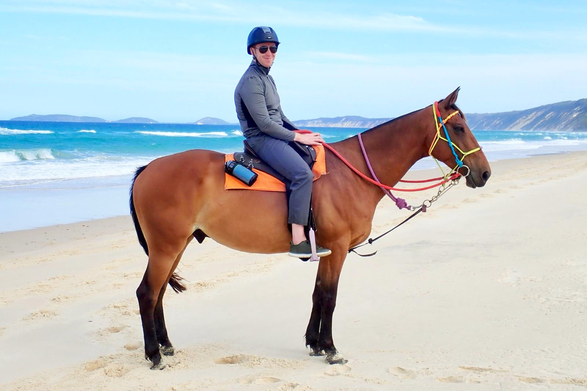 Cliff astride his noble steed Turbo on Rainbow Beach, Queensland © Clifton Wilkinson
