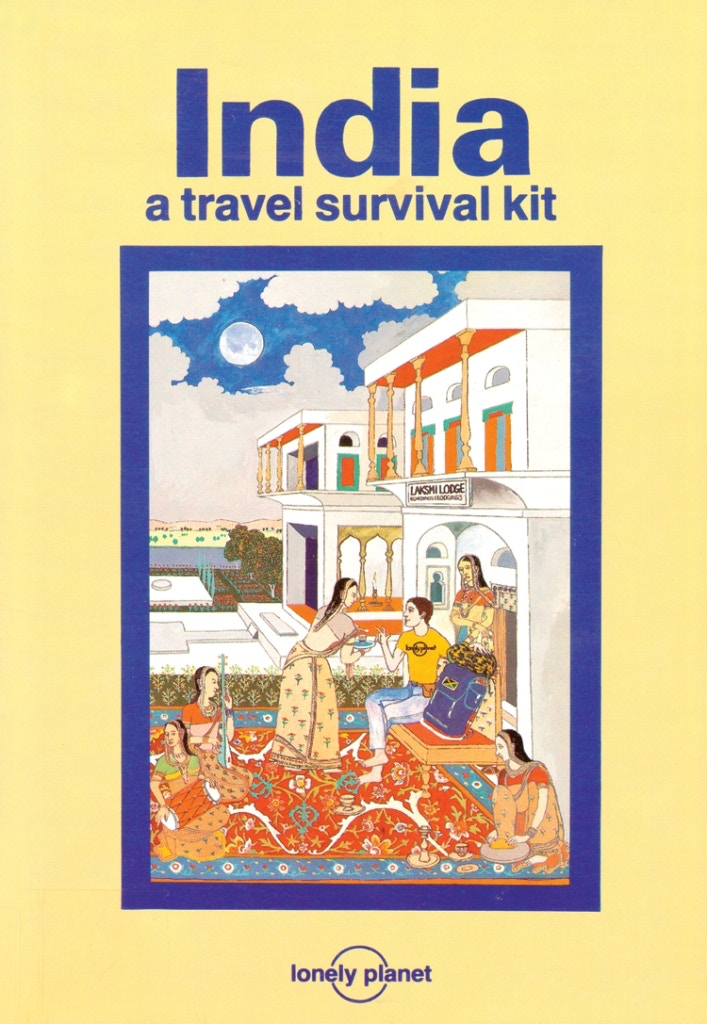 The Lonely Planet logo illustrated on a t-shirt on the cover of India: a travel survival kit by Peter Campbell © Lonely Planet