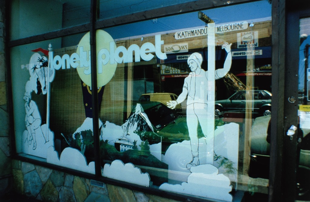 The wooden cutouts by Peter Campbell (pictured left in the above image) displayed in the Melbourne shop front © Lonely Planet