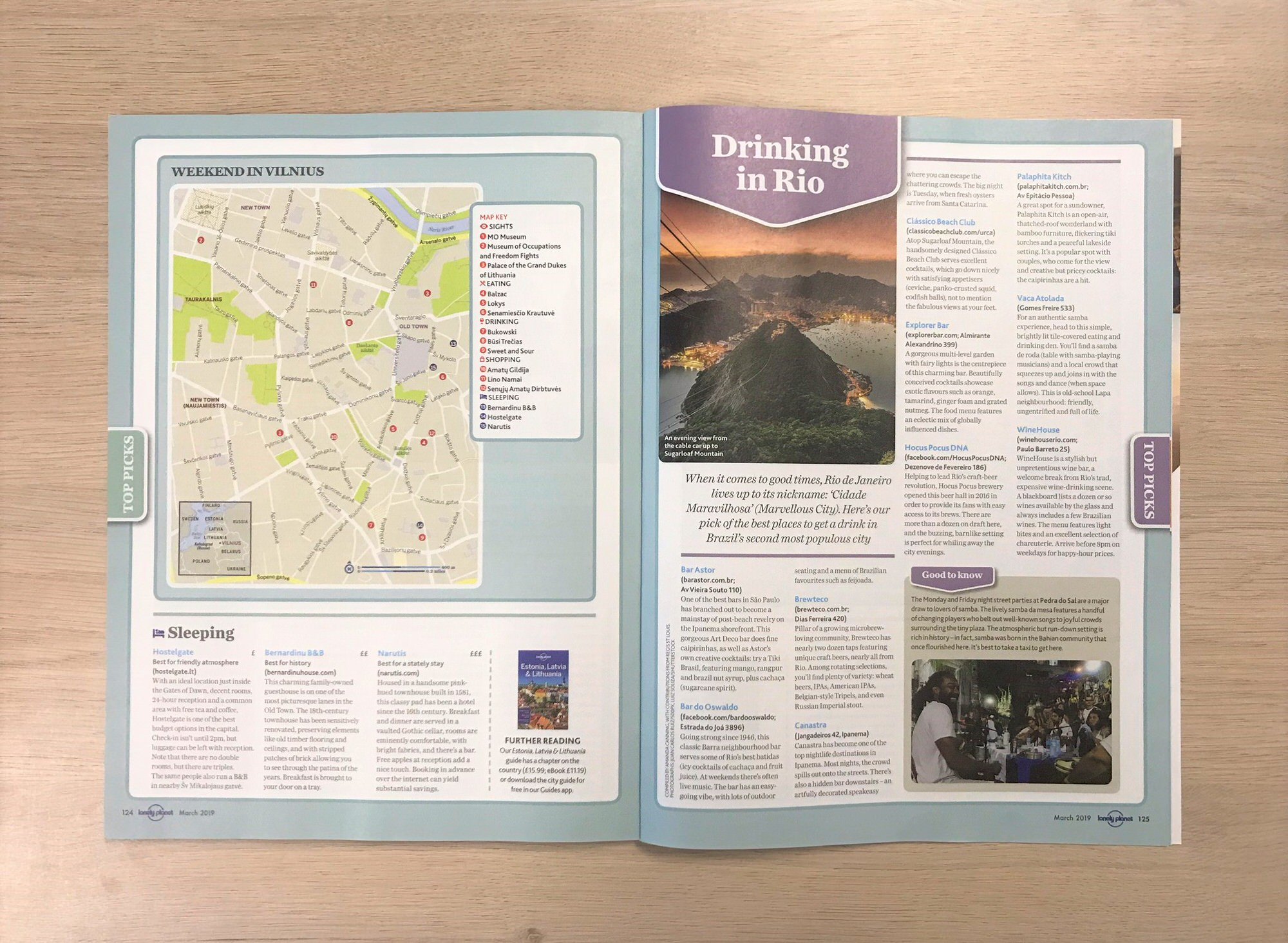 The March edition of Lonely Planet Magazine (UK) open to the Drinking in Rio mini-guide page
