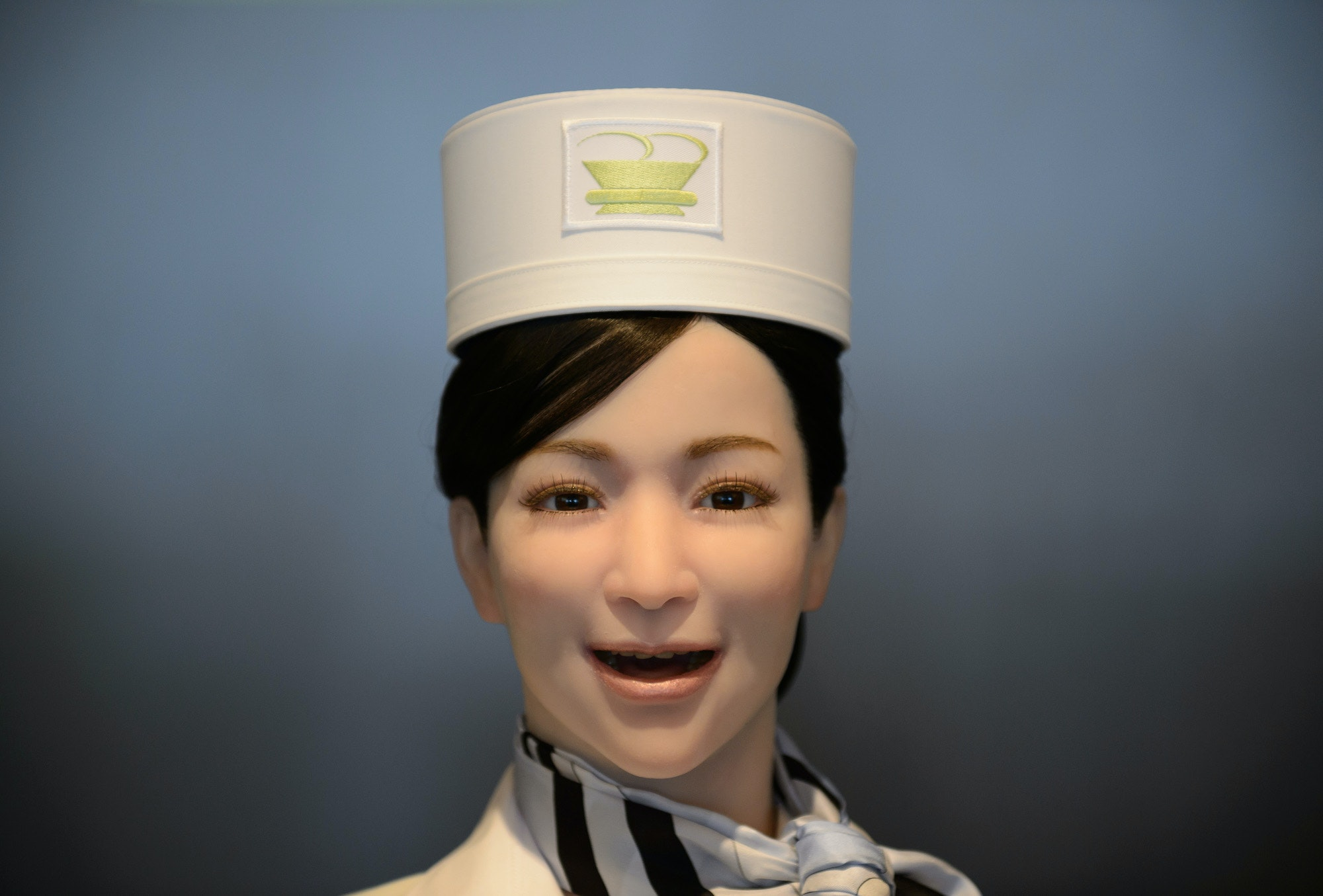 A robot receptionist at the Henn na Hotel, Japan