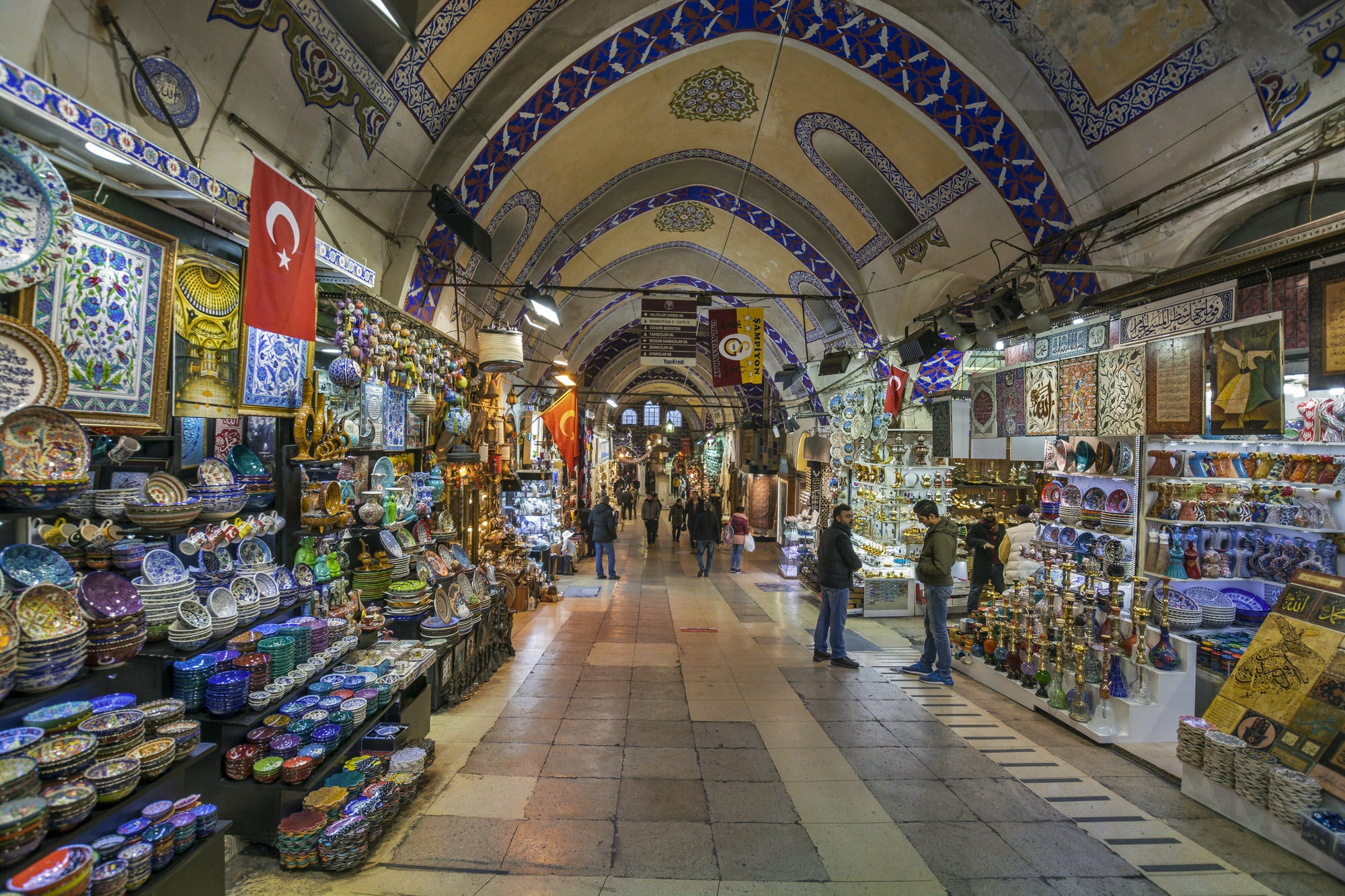 Interior of the Grand Bazaar in Istanbul with colourful produce on display