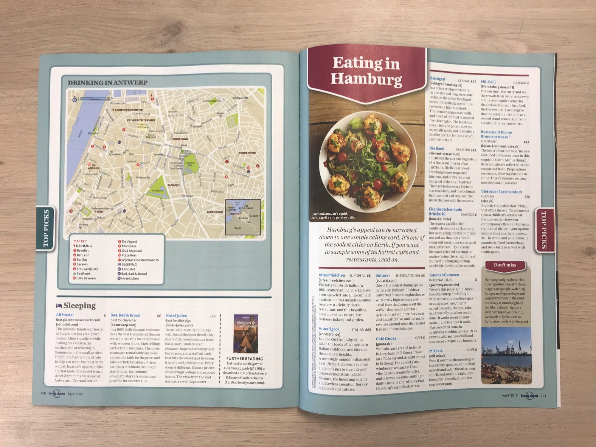 A double-page spread from the April edition of Lonely Planet Magazine (UK)