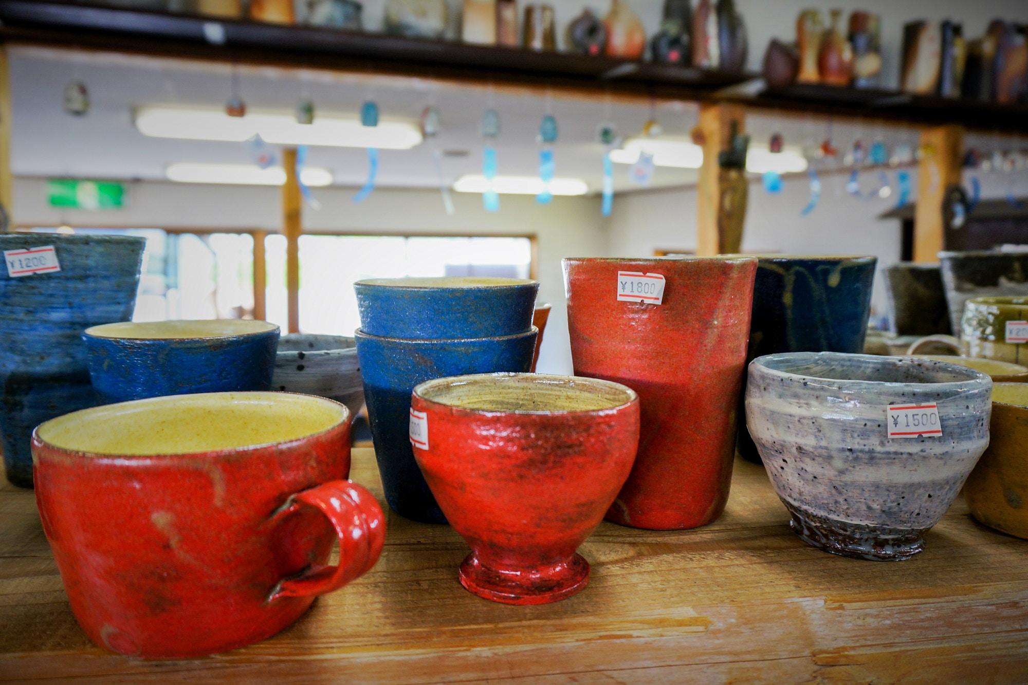 Pottery on sale in the village of Shigaraki