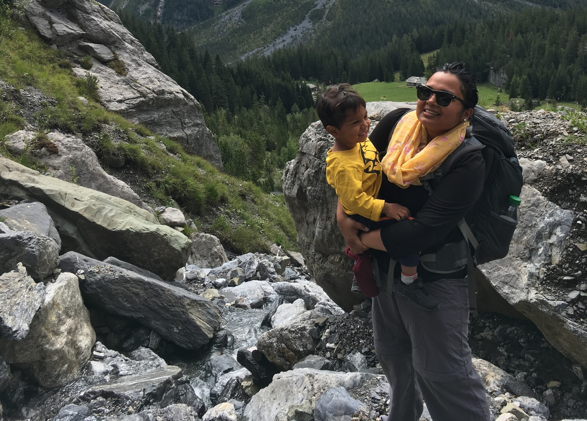 Samai and her travelling toddler hiking in Switzerland