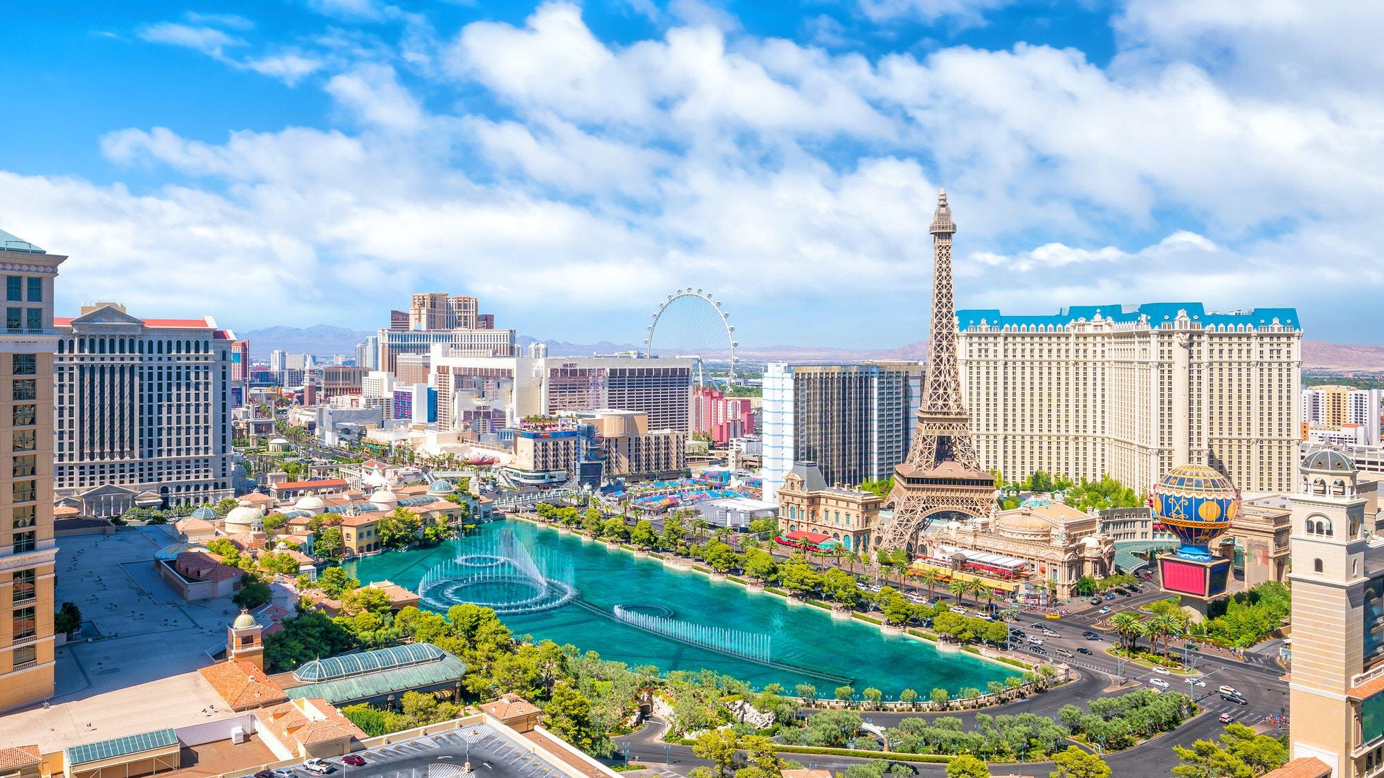 High-angle view of the Las Vegas Strip