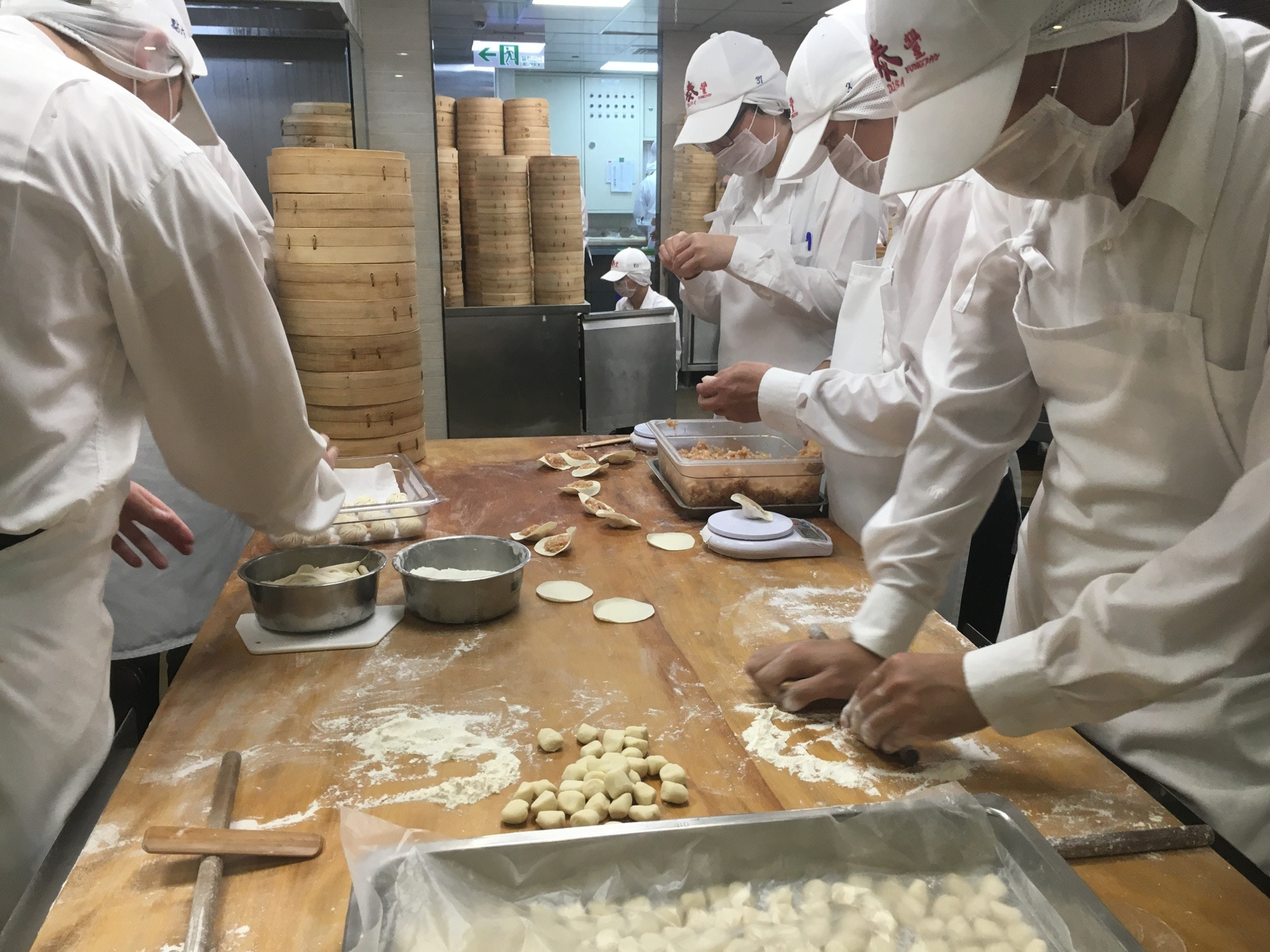Chefs making dumplings at Din Tai Fung, Taipei