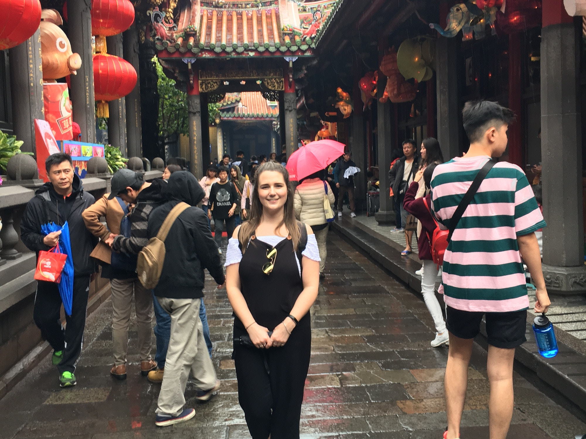 Louise at the Longshan Temple in Taipei
