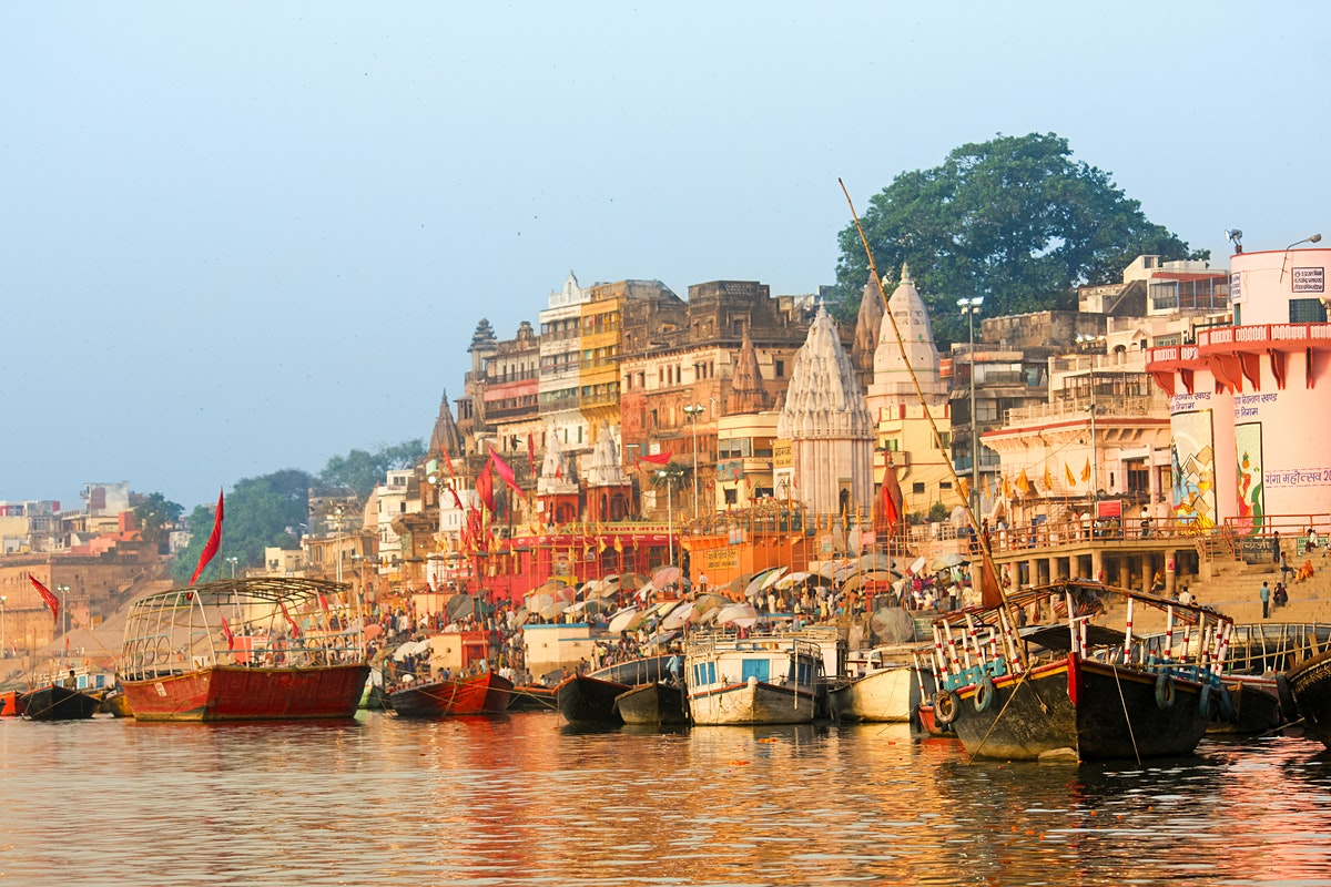Varanasi, holy town of temples and Hindu spiritual learning (Alt. 265 ft.) where the River Ganga appears calm like a lake.